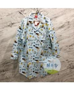 ชุดนอนกระโปรงแซก ผ้าพิมพ์ลาย แขนยาว ลาย Snoopy (Free size) - สีฟ้า