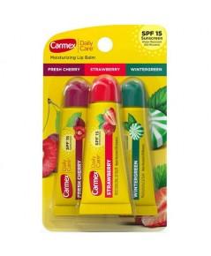 *พร้อมส่ง* เซ็ต 3 กลิ่น CARMEX Daily Care Moisturizing Lip Balm SPF15 จาก USA แบบหลอด