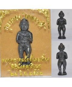 กุมารทองเทพดวงดี เนื้อชนวนรมดำ วัดสันมะเกี๊ยง เชียงใหม่ 2562 สูง 3.2 ซม