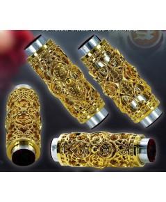 ตะกรุดทองพันชั่ง เนื้อทองฝาบาตร ครูบาคำฝั้น วัดกอโชค 2563 ยาว 2.6 ซม.