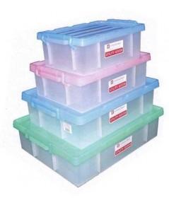 กล่องพลาสติกใส ฝาสี