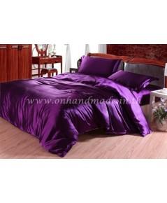 ผ้านวมคลุมเตียงไมโคร ผ้าซาตินแท้ 440 เส้น ขนาด 6 ฟุตพิเศษ(ขนาด 90 นิ้ว x 100 นิ้ว)สีม่วงเปลือกมังคุด
