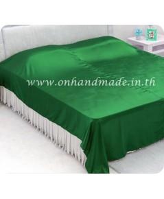 ผ้าคลุมเตียงผ้าซาตินแท้ 440 เส้น ขนาด 6 ฟุต (ขนาด 88 นิ้ว x 98 นิ้ว) สีเขียวหยก