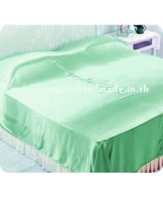 ผ้าคลุมเตียงผ้าซาตินแท้ 440 เส้น ขนาด 6 ฟุต (ขนาด 88 นิ้ว x 98 นิ้ว) สีเขียวมินต์