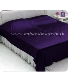 ผ้าคลุมเตียงผ้าซาตินแท้ 440 เส้น ขนาด 6 ฟุต (ขนาด 88 นิ้ว x 98 นิ้ว) สีม่วงเข้ม