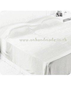 ผ้าคลุมเตียงผ้าซาตินแท้ 440 เส้น ขนาด 6 ฟุต (ขนาด 88 นิ้ว x 98 นิ้ว) สีขาวนม