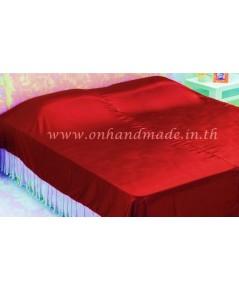 ผ้าคลุมเตียงผ้าซาตินแท้ 440 เส้น ขนาด 6 ฟุต (ขนาด 88 นิ้ว x 98 นิ้ว) สีแดง