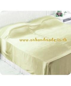 ผ้าคลุมเตียงผ้าซาตินแท้ 440 เส้น ขนาด 6 ฟุต (ขนาด 88 นิ้ว x 98 นิ้ว) สีทองอ่อน