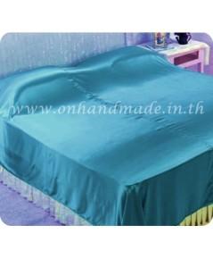 ผ้าคลุมเตียงผ้าซาตินแท้ 440 เส้น ขนาด 6 ฟุต (ขนาด 88 นิ้ว x 98 นิ้ว) สีฟ้าน้ำทะเล
