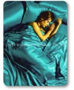 ผ้าคลุมเตียงผ้าซาตินแท้ 440 เส้น ขนาด 6 ฟุต (ขนาด 88 นิ้ว x 98 นิ้ว) สีฟ้าอมเขียวเข้ม