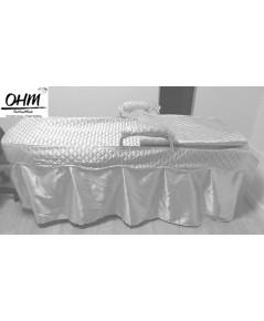 ผ้าคลุมเตียงเตียงนวดสปา แบบพับได้ ผ้าซาติน OHM สีงาช้าง