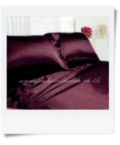ปลอกผ้านวมผ้าไหมซาตินญี่ปุ่น ขนาด 6 ฟุต (90x100 นิ้ว) สีม่วงกะปิ