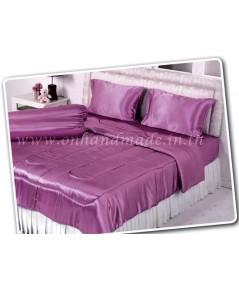 ผ้านวมคลุมเตียง ผ้าซาตินแท้ 440 เส้น ขนาด 6 ฟุตพิเศษ (ขนาด 90 นิ้ว x 100 นิ้ว) สีม่วงกะปิ