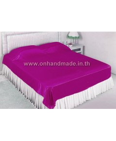 ผ้าคลุมเตียงผ้าซาตินแท้ 440 เส้น ขนาด 6 ฟุต (ขนาด 88 นิ้ว x 98 นิ้ว) สีชมพูบานเย็น