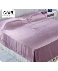 ผ้าคลุมเตียงผ้าซาตินแท้ 440 เส้น ขนาด 6 ฟุต (ขนาด 88 นิ้ว x 98 นิ้ว) สีชมพูเบส