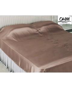 ผ้าคลุมเตียงผ้าซาตินแท้ 440 เส้น ขนาด 6 ฟุต (ขนาด 88 นิ้ว x 98 นิ้ว) สีน้ำตาลเบส