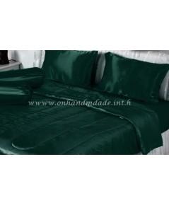 ผ้านวมคลุมเตียง ผ้าซาตินแท้ 440 เส้น ขนาด 6 ฟุตพิเศษ (ขนาด 90 นิ้ว x 100 นิ้ว) สีเขียวหัวเป็ด