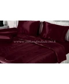 ผ้านวมคลุมเตียงไมโคร ผ้าซาตินแท้ 440 เส้น ขนาด 6 ฟุตพิเศษ (ขนาด 90 นิ้ว x 100 นิ้ว) สีแดงเลือดนก