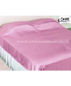 ผ้าคลุมเตียง ผ้าซาตินแท้ 660 เส้น ขนาด 6 ฟุต (ขนาด 88 นิ้ว x 98 นิ้ว) สีชมพูหวาน