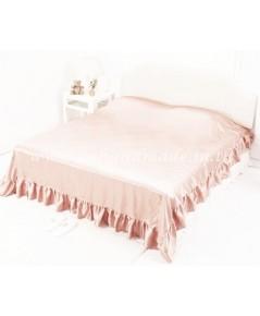 ผ้าคลุมเตียงแบบมีชายระบาย ผ้าซาตินแท้ 440 เส้น ขนาด 6 ฟุต (ขนาด 96 นิ้ว x 108 นิ้ว) สีโอรสอ่อน