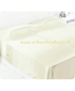 ผ้าคลุมเตียงผ้าซาตินแท้ 440 เส้น ขนาด 6 ฟุต (ขนาด 88 นิ้ว x 98 นิ้ว) สีครีมงาช้าง