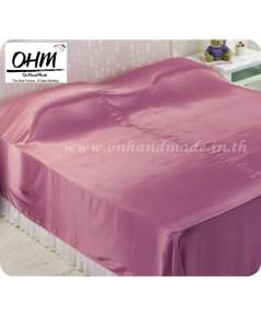 ผ้าคลุมเตียงผ้าซาตินแท้ 440 เส้น ขนาด 6 ฟุต (ขนาด 88 นิ้ว x 98 นิ้ว) สีชมพูกะปิ