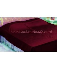 ผ้าคลุมเตียงผ้าซาตินแท้ 440 เส้น ขนาด 6 ฟุต (ขนาด 88 นิ้ว x 98 นิ้ว) สีแดงเลือดนก