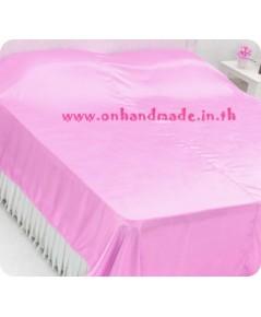ผ้าห่มผ้าซาตินแท้ 440 เส้น ขนาด 6 ฟุต (ขนาด 70 นิ้ว x 90 นิ้ว) สีชมพูหวาน