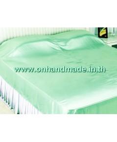 ผ้าห่ม ผ้าซาตินแท้ 440 เส้น ขนาด 6 ฟุต (ขนาด 70 นิ้ว x 90 นิ้ว) สีเขียวมินต์