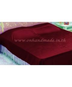 ผ้าห่มผ้าซาตินแท้ 440 เส้น ขนาด 6 ฟุต (ขนาด 70 นิ้ว x 90 นิ้ว) สีแดง
