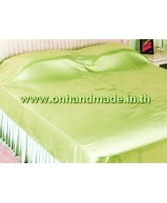 ผ้าห่มผ้าซาตินแท้ 440 เส้น ขนาด 6 ฟุต (ขนาด 70 นิ้ว x 90 นิ้ว) สีเขียวแจ๊ด