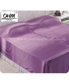 ผ้าห่มผ้าซาตินแท้ 440 เส้น ขนาด 5 ฟุต (ขนาด 60 นิ้ว x 90 นิ้ว) สีม่วงกะปิ