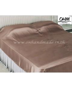 ผ้าห่มผ้าซาตินแท้ 440 เส้น ขนาด 3.5 ฟุต (ขนาด 44 นิ้ว x 90 นิ้ว) สีน้ำตาลเบส