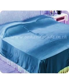 ผ้าห่มผ้าซาตินแท้ 440 เส้น ขนาด 3.5 ฟุต (ขนาด 44 นิ้ว x 90 นิ้ว) สีฟ้าน้ำทะเล