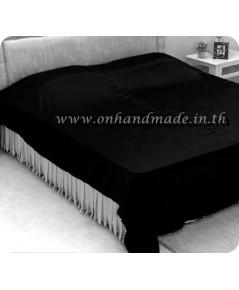 ผ้าห่มผ้าซาตินแท้ 440 เส้น ขนาด 3.5 ฟุต (ขนาด 44 นิ้ว x 90 นิ้ว) สีดำ