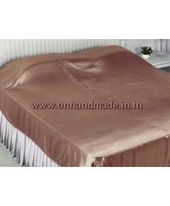 ผ้าคลุมเตียงผ้าซาตินแท้ 440 เส้น ขนาด 6 ฟุต (ขนาด 88 นิ้ว x 98 นิ้ว) สีน้ำตาลโอรสเข้ม