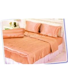 ผ้านวมคลุมเตียง  ผ้าซาตินแท้ 440 เส้น ขนาด 6 ฟุตพิเศษ (ขนาด 90 นิ้ว x 100 นิ้ว) สีส้มโอรส