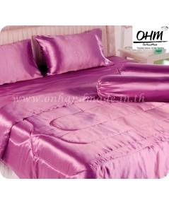 ผ้าปูที่นอนและผ้านวมผ้าเครปซาติน 220 เส้น ขนาดเตียง 5 ฟุต สีชมพูเข้ม