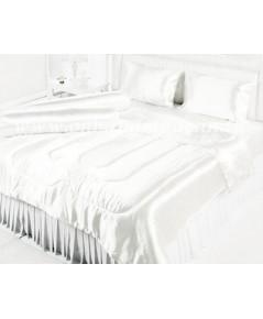 ผ้าปูที่นอนและผ้านวมผ้าเครปซาติน 220 เส้น ขนาดเตียง 6 ฟุต สีงาช้าง