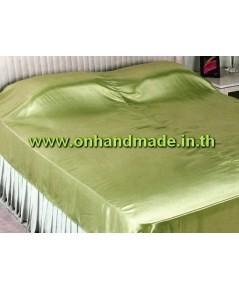 ผ้าห่มผ้าซาตินแท้ 440 เส้น ขนาด 3.5 ฟุต (ขนาด 44 นิ้ว x 90 นิ้ว) สีเขียวตองอ่อน