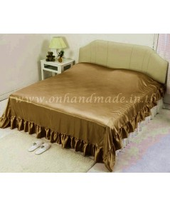 ผ้าคลุมเตียงแบบมีชายระบาย ผ้าซาตินแท้ 440 เส้น ขนาด 6 ฟุต (ขนาด 96 นิ้ว x 108 นิ้ว) สีน้ำตาลกาแฟ