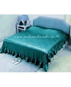 ผ้าคลุมเตียงแบบมีชายระบาย ผ้าซาตินแท้ 440 เส้น ขนาด 6 ฟุต (ขนาด 96 นิ้ว x 108 นิ้ว) สีเขียวประกายมุก