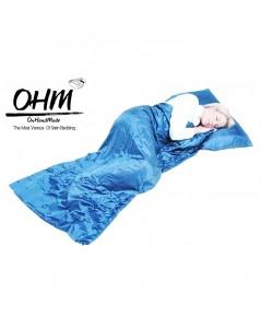 ถุงนอนเดี่ยว ผ้าซาตินแท้ 440 เส้น ขนาด  34 นิ้ว x 84 นิ้ว สีฟ้า