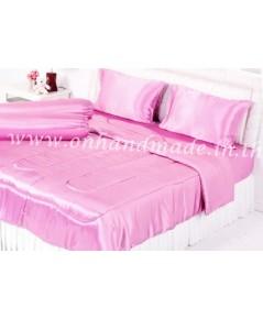 ผ้าปูที่นอน ผ้าซาตินแท้ 440 เส้น ขนาด 3.5 ฟุต สีชมพูโอรส
