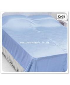 ผ้าห่มผ้าซาตินแท้ 440 เส้น ขนาด 5 ฟุต (ขนาด 60 นิ้ว x 90 นิ้ว) สีฟ้าพาสเทล