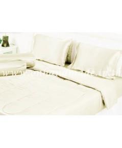 ผ้านวมคลุมเตียงไมโคร ผ้าซาตินแท้ 440 เส้น ขนาด 6 ฟุตพิเศษ (ขนาด 90 นิ้ว x 100 นิ้ว) สีครีมอ่อน
