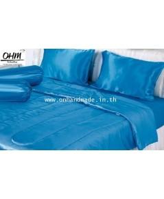ผ้านวมคลุมเตียง ผ้าซาตินแท้ 440 เส้น ขนาด 6 ฟุตพิเศษ (ขนาด 90 นิ้ว x 100 นิ้ว) สีฟ้าน้ำทะเล