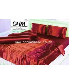ผ้านวมคลุมเตียง ผ้าเครปซาติน 220 เส้น ขนาด 6 ฟุตพิเศษ สีแดง