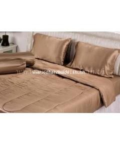 ผ้าปูที่นอน ความสูงฟูก 10 นิ้ว ผ้าซาตินแท้ 440 เส้น ขนาด 3.5 ฟุต สีน้ำตาลอ่อน