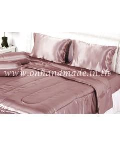 ผ้าปูที่นอน ผ้าซาตินแท้ 440 เส้น ขนาด 6 ฟุต เบอร์ 32 สีโรสโกล์ด (Rose Gold)
